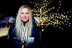 February 2, 2018 - Goms, SWITZERLAND - 180202 Frida Karlsson of Sweden poses with the gold medal for the women's 5/5 km skiathlon and the bronze medal for the sprint free technique during the FIS Nordic Junior World Ski Championships on February 2, 2018 in Gluringen..Photo: Vegard Wivestad GrÂ¿tt / BILDBYRN / kod VG / 170097 (Credit Image: © Vegard Wivestad Gr¯Tt/Bildbyran via ZUMA Press)