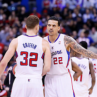 12 February 2014: Los Angeles Clippers power forward Blake Griffin (32) celebrates with Los Angeles Clippers small forward Matt Barnes (22) during the Los Angeles Clippers 122-117 victory over the Portland Trail Blazers at the Staples Center, Los Angeles, California, USA.