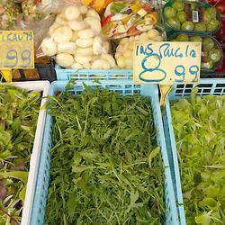 Fruit & Vegetable Stall -Rocket & Salad ; Market - Chioggia - Venice Italy