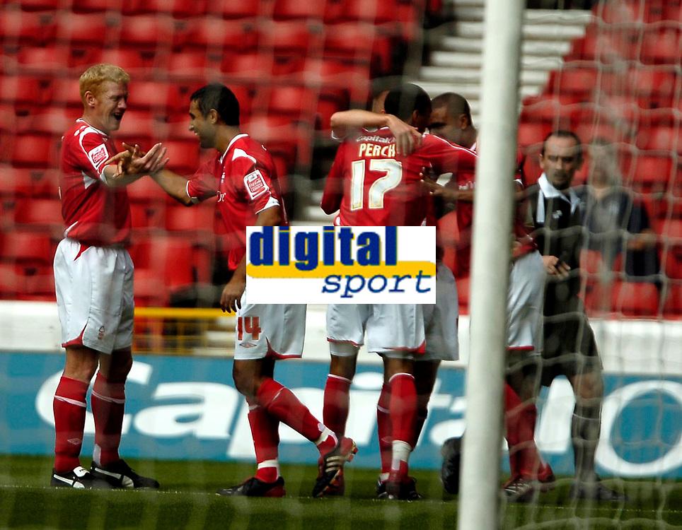 Photo: Ed Godden.<br />Nottingham Forest v Bradford City. Coca Cola League 1.<br />05/08/2006. Forest players celebrate Julian Bennett's opening goal.