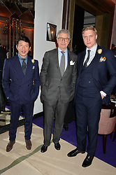 Left to right, WEI KOH, ARNAUD BAMBERGER and TOM CHAMBERLIN deputy editor The Rake at a reception hosted by The Rake Magazine and Claridge's to celebrate London Collections 2015 held at Claridge's, Brook Street, London on 8th January 2015.