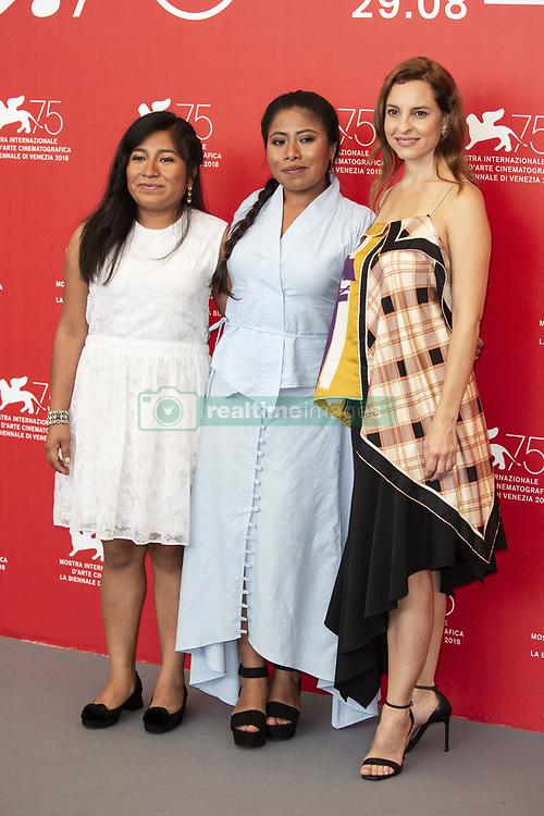 Nancy García, Yalitza Aparicio, Marina de Tavira attend Roma photocall during the 75th Venice Film Festival at Sala Casino on August 30, 2018 in Venice, Italy. Photo by Marco Piovanotto/ABACAPRESS.COM