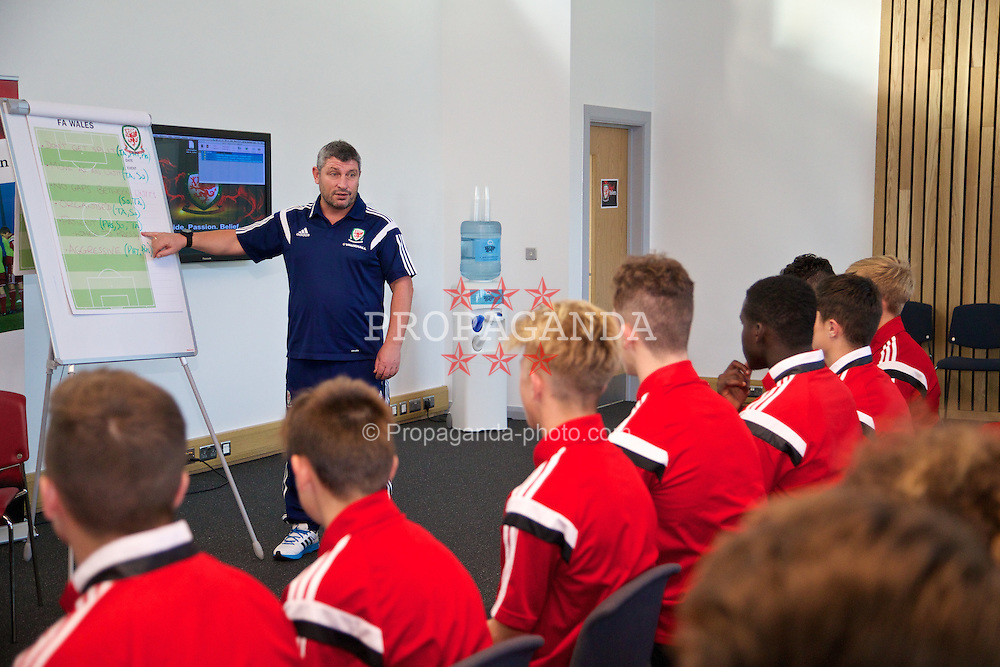 NEWPORT, WALES - Wednesday, September 24, 2014: Wales' xxxx training at Dragon Park ahead of the Under-16's International Friendly match against France. (Pic by David Rawcliffe/Propaganda)