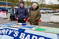 Wycombe Wanderer badge sellers outside the Adams Park stadium before the EFL Sky Bet League 1 match between Wycombe Wanderers and Plymouth Argyle at Adams Park, High Wycombe, England on 26 January 2019.