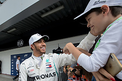 November 10, 2018 - Sao Paulo, Sao Paulo, Brazil - LEWIS HAMILTON celebrates the pole position to the Formula One GP Brazil 2018 at Interlagos circuit, in Sao Paulo, Brazil. The grand prix will be celebrated next Sunday, November 11. (Credit Image: © Paulo LopesZUMA Wire)