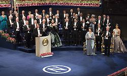 Nobelpreisverleihung 2016 in der Konzerthalle in Stockholm / 101216 ***Horace Engdahl, Kˆnigin  Silvia, prince Daniel, king Carl XVI Gustaf, crown princess Victoria <br />  ***The annual Nobel Prize Award Ceremony at The Concert Hall in Stockholm, December 10th, 2016***