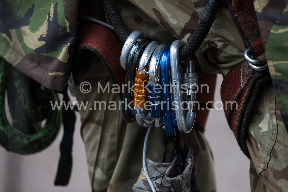 Harefield, UK. 16 January, 2020. Climbing equipment used by Stop HS2 activist Quercus, who left the Harvil Road wildlife protection camp in the Colne Valley voluntarily after a day and a night spent high up in a tree in woodland. 108 ancient woodlands are set to be destroyed by the high-speed rail link and further destruction of trees for HS2 in the Harvil Road area is believed to be imminent.