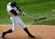 MORNING JOURNAL/DAVID RICHARD<br />Cleveland's Aaron Boone breaks his bat while he singles to left yesterday in the sixth inning.