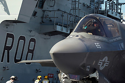 Royal Navy Cmdr. Nathan Gray in his F35B following the first deck landing aboard HMS Queen Elizabeth. Gray and Royal Air Force Sq. Ldr. Andy Edgell, both test pilots at the F-35 Integrated Test Force at Naval Air Station Patuxent River, Md, landed the first two jets on the new British aircraft carrier this week.<br /> Courtesy photo by Royal Navy