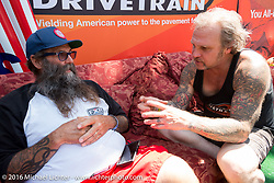 Wink Eller and Bert Baker (of Baker Drivetrain) at the Born Free Motorcycle Show-8 at the Oak Canyon Ranch. Silverado, CA, USA. Saturday June 25, 2016.  Photography ©2016 Michael Lichter.