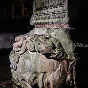 At the base of two of the 336 columns in the cistern are two heads of Medusa. One is upside down and the other is sideways. Why they were placed that way is unknown. The cistern, located 500 feet of the Hagia Sophia on the historical peninsula of Sarayburnu, was built in the 6th century during the reign of Byzantine Emperor Justinian I.