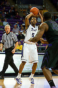 FORT WORTH, TX - JANUARY 7: Charles Hill Jr. #0 of the TCU Horned Frogs shoots the ball against the Kansas State Wildcats on January 7, 2014 at Daniel-Meyer Coliseum in Fort Worth, Texas.  (Photo by Cooper Neill/Getty Images) *** Local Caption *** Charles Hill Jr.