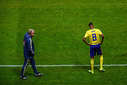 March 23, 2019 - Stockholm, SWEDEN - 190323 Head coach Janne Andersson and Alexander Isak of Sweden during the UEFA Euro Qualifier football match between Sweden and Romania on March 23, 2019 in Stockholm  (Credit Image: © Simon HastegÃ…Rd/Bildbyran via ZUMA Press)