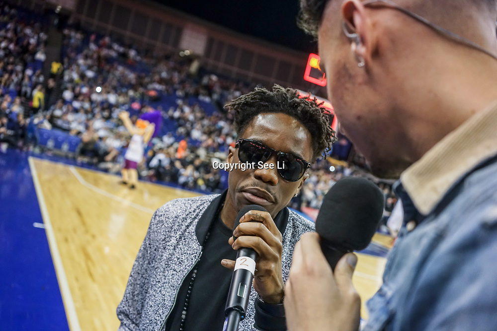 London,England,UK. 14th May 2017. Tinchy Stryder attends the BBL Play-Off Finals also fundraising for Hoops Aid 2017 but also a major fundraising opportunity for the Sports Traider Charity at London's O2 Arena, UK. by See Li