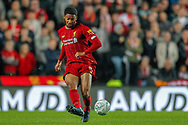 Liverpool defender Joe Gomez (12) passes the ball during the EFL Cup match between Milton Keynes Dons and Liverpool at stadium:mk, Milton Keynes, England on 25 September 2019.