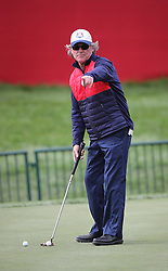 USA's Kurt Russell during a celebrity golf match ahead of the 41st Ryder Cup at Hazeltine National Golf Club in Chaska, Minnesota, USA.