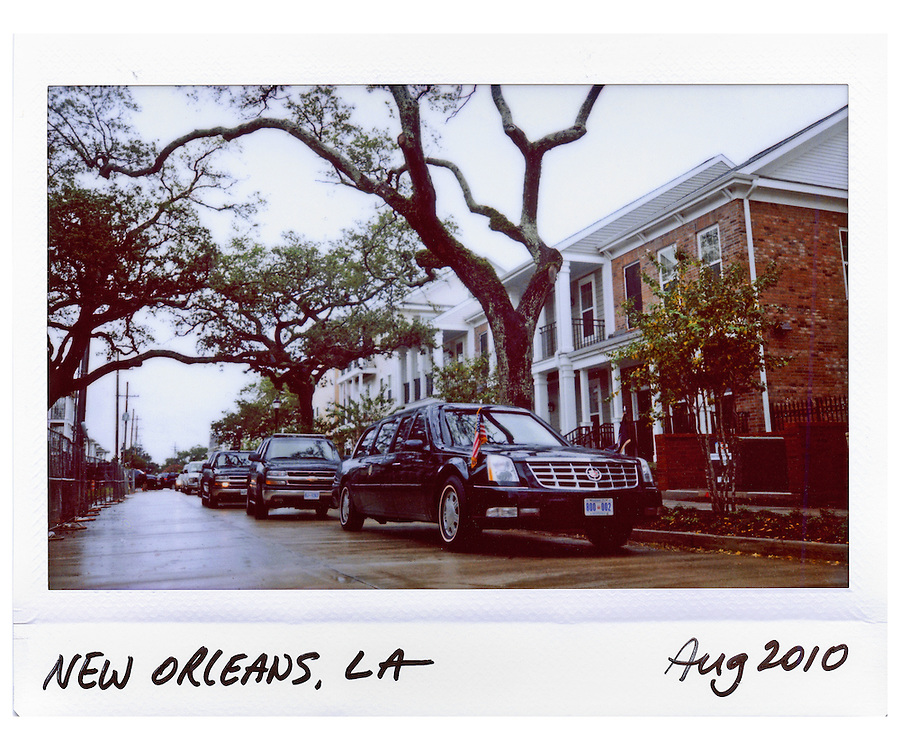 U.S. President Barack Obama's limousine is seen on the street outside of an event  in New Orleans, Louisiana, August 29, 2010.