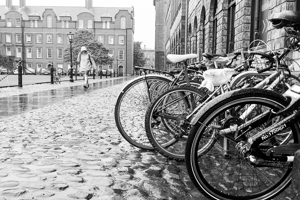 Bicycle stand at Trinity College, Dublin, ireland.