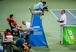Aljaz Bedene of Slovenia with physiotherapist Dejan Kumar during Singles semifinal match during Day 9 of ATP Challenger Zavarovalnica Sava Slovenia Open 2019, on August 17, 2019 in Sports centre, Portoroz/Portorose, Slovenia. Photo by Vid Ponikvar / Sportida