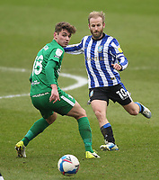 Preston North End's Ryan Ledson in action with  Sheffield Wednesday's Barry Bannan<br /> <br /> Photographer Mick Walker/CameraSport<br /> <br /> The EFL Sky Bet Championship - Sheffield Wednesday v Preston North End - Saturday 30th January 2021 - Hillsborough - Sheffield<br /> <br /> World Copyright © 2020 CameraSport. All rights reserved. 43 Linden Ave. Countesthorpe. Leicester. England. LE8 5PG - Tel: +44 (0) 116 277 4147 - admin@camerasport.com - www.camerasport.com