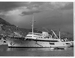 Aristotle Onassis's yacht Christina photographed at anchor in Monte Carlo in February 1956.<br /> <br /> <br /> <br /> NON EXCLUSIVE - WORLD RIGHTS