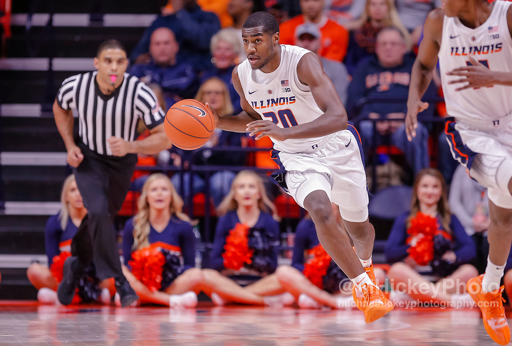 CHAMPAIGN, IL - JANUARY 23: Da'Monte Williams #20 of the Illinois Fighting Illini brings the ball up court during the game against the Wisconsin Badgers at State Farm Center on January 23, 2019 in Champaign, Illinois. (Photo by Michael Hickey/Getty Images) *** Local Caption *** Da'Monte Williams