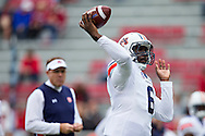 FAYETTEVILLE, AR - OCTOBER 24:  Jeremy Johnson #6 of the Auburn Tigers warming up before a game against the Arkansas Razorbacks at Razorback Stadium Stadium on October 24, 2015 in Fayetteville, Arkansas.  The Razorbacks defeated the Tigers in 4 OT's 54-46.  (Photo by Wesley Hitt/Getty Images) *** Local Caption *** Jeremy Johnson