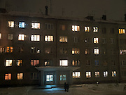 Plattenbau in einem Vorort der sibirischen Hauptstadt Nowosibirsk.<br /> <br /> Panel house in a suburb of the Sibirian capital Novosibirsk.