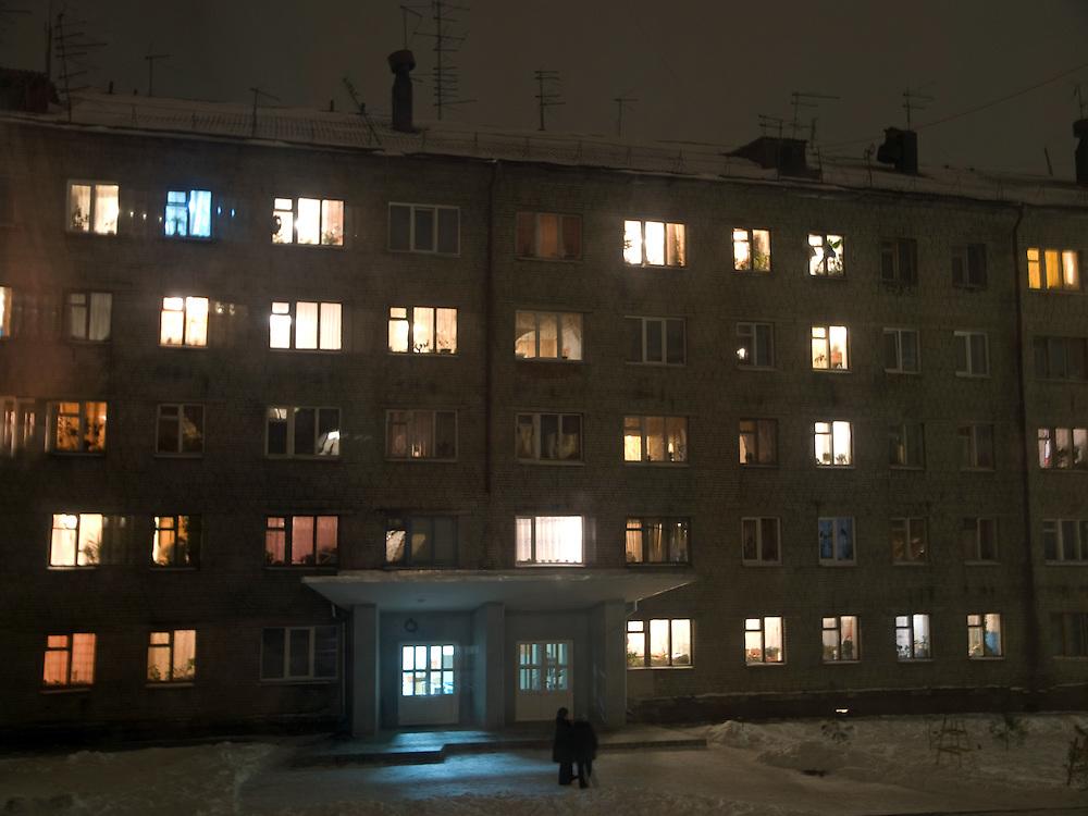 Plattenbau in einem Vorort der sibirischen Hauptstadt Nowosibirsk.<br /> <br /> Panel house in a suburb of the Sibirian capital Novosibirsk.