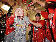 St. Louis Cardinals shortstop Ryan Theriot (R) and his teammates pour beer on manager Tony LaRussa as they celebrate their win over the Milwaukee Brewers in game 6 of the National League Championship Series at Miller Park on October 16, 2011 in Milwaukee, Wisconsin. The Cardinals won 12-6 and advance to the World Series to play the Texas Rangers after defeating the Brewers 4-2 in the best of seven series.    UPI/Brian Kersey