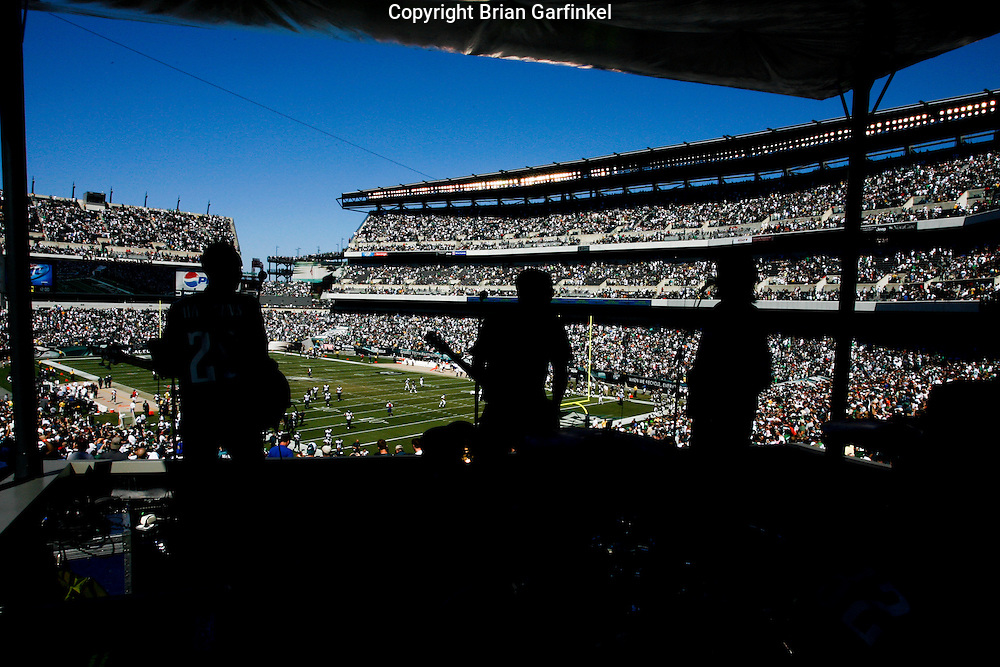 """6 Sept 2008: The band """"A Balance"""" plays from the new """"Phlite Deck"""" at Lincoln Financial field during the halftime of the game against the St Louis Rams on August 28, 2008. The Eagles beat the Rams 38-3 at Lincoln Financial Field in Phialdelphia, Pennsylvania."""