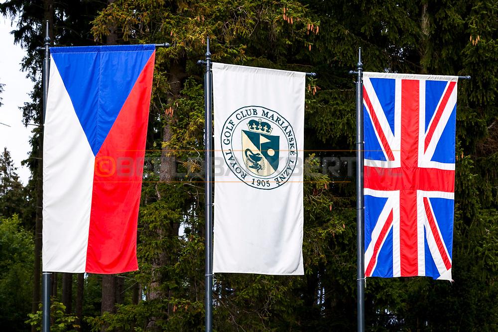 20-09-2015: Royal Golf Club Marianske Lazne in Marianske Lazne (Marienbad), Tsjechië.<br /> Foto: Vlaggen van Tsjechië, de club en Groot-Brittannië