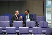 17 FEB 2016, BERLIN/GERMANY:<br /> Thomas de Maiziere (L), CDU, Bundesinnenminister, und Stephan Mayer (R), MdB, CSU, Vorsitzender der Arbeitsgruppe Innen der CDU/CSU Faktion, im Gespraech, waehrend der Debatte zur Regierunsgerklaerung der Bundeskanzlerin zum Europaeischen Rat, Plenum, Deutscher Bundestag<br /> IMAGE: 20160217-03-058<br /> KEYWORDS: Debatte, Gespräch, Thomas de Maizière