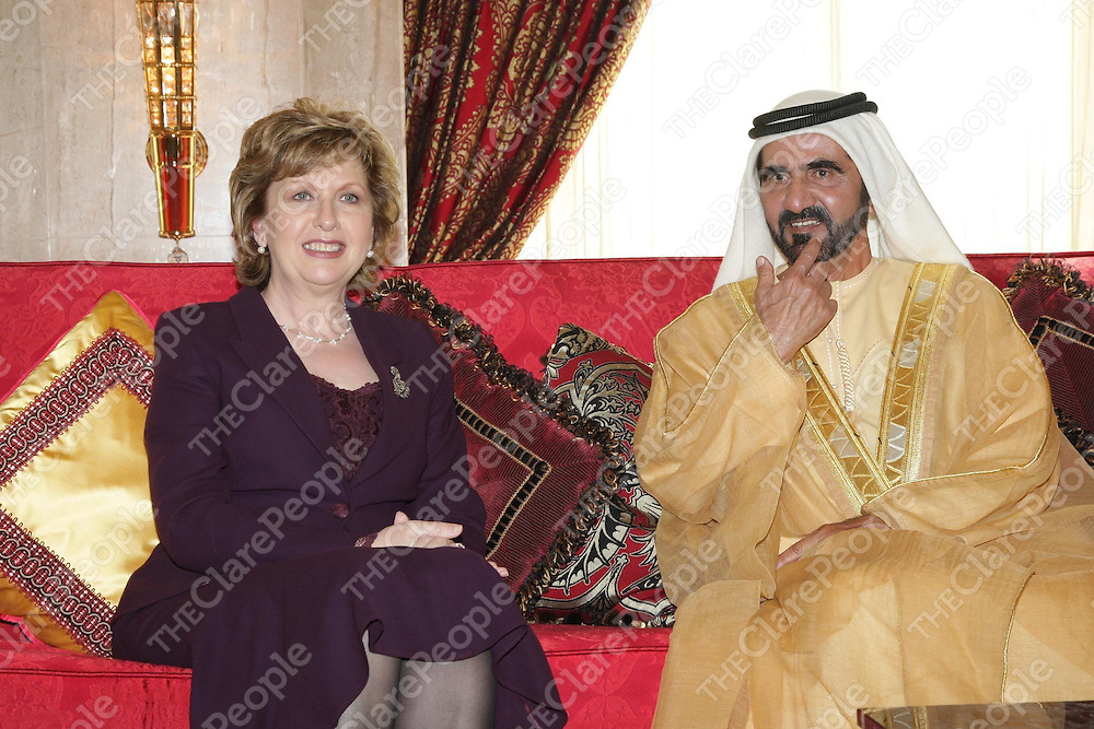 4.02.2009..President Mary McAleese official visit to the United Arab Emirates...pic shows President McAleese pic as she met His Highness Sheik Mohammed Bin Rashid Al Maktoum Vice President and Ruler of Dubai at the Zabil Palace .Pic Maxwells Dublin
