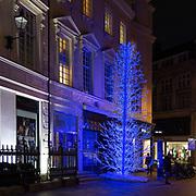 Albero di Natale colorato in South Molton, la via pedonale vicina alla famosa @BondStreet in Mayfair.<br /> .<br /> The lovely Coloured Christmas tree in South Molton St, the pedestrian street near the most famous @BondStreet in Mayfair.
