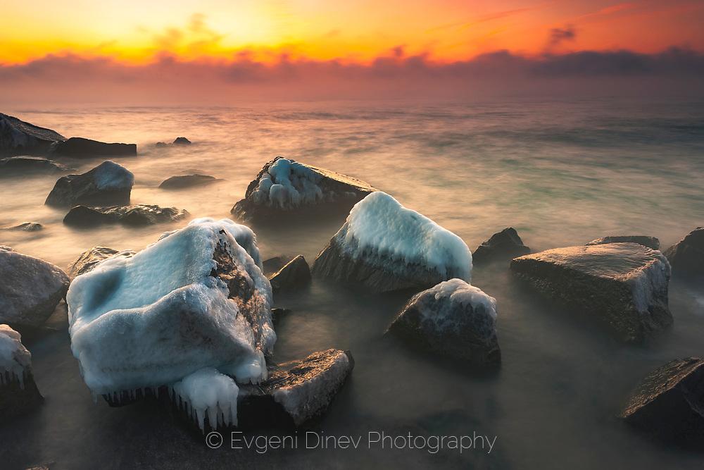 Balck Sea in Frosty winter morning