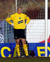 Photo: Jed Wee.<br /> Clyde v Glasgow Celtic. Scottish Cup. 08/01/2006.<br /> <br /> Celtic goalkeeper Artur Boruc shows his disappointment after conceding.