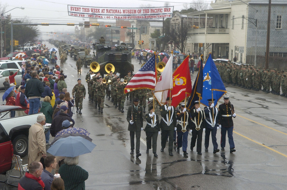 Fredricksburg, Texas 19FEB05: Parade of World War II era military vehicles highlights the 60th-anniversary commemoration of the battle for Iwo Jima. ©Bob Daemmrich /