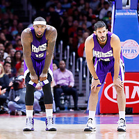 02 November 2014: Sacramento Kings center DeMarcus Cousins (15) is seen next to Sacramento Kings forward Omri Casspi (18) during the Sacramento Kings 98-92 victory over the Los Angeles Clippers, at the Staples Center, Los Angeles, California, USA.