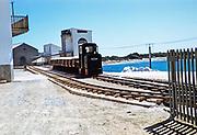 Train railway transport salt production  industry, Salinera de Sa Canal, Ibiza, Balearic Islands, Spain in 1950s