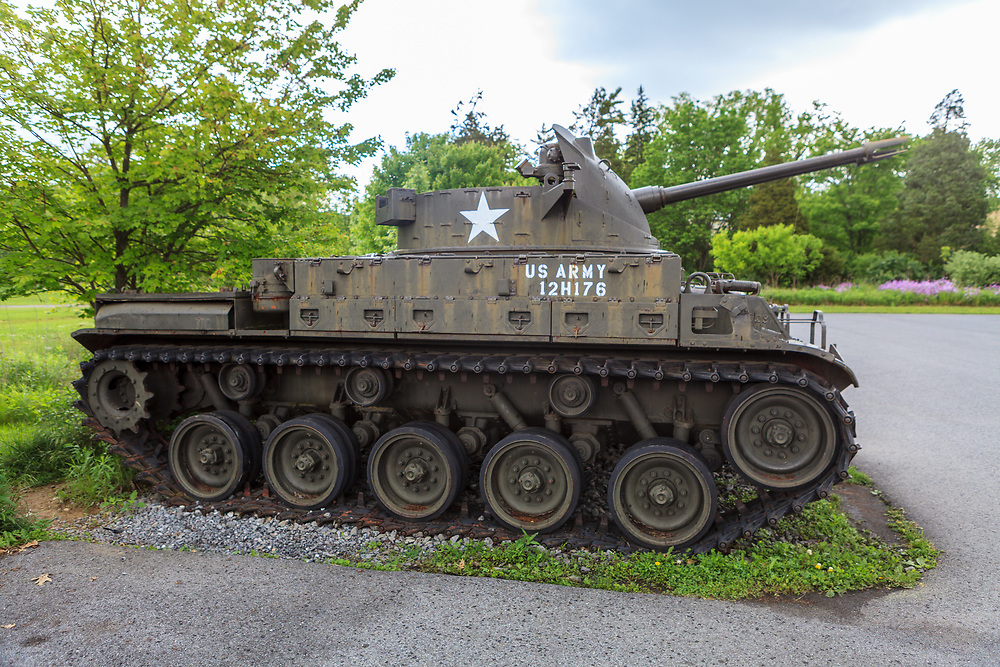 Boalsburg, PA, USA - May 23, 2012: A Twin 40mm self propelled gun vehicle on display at the Pennsylvania Military Museum.