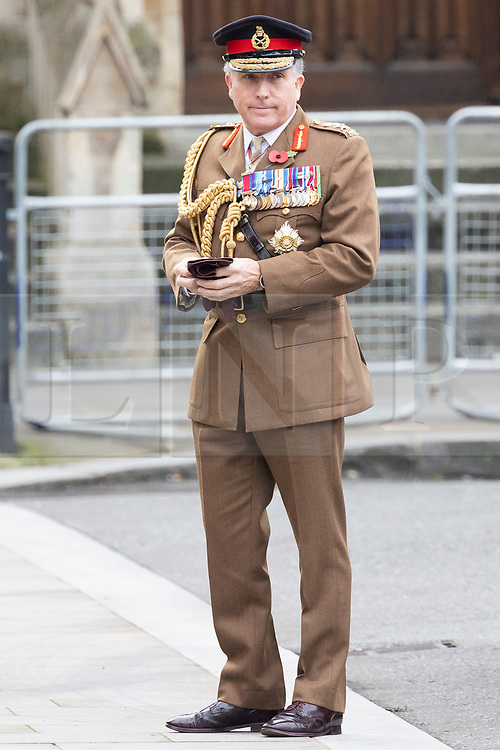 © Licensed to London News Pictures. 11/11/2020. London, UK. Chief of the Defence Staff, General Sir Nick Carter arrives at Westminster Abbey for an Armistice Day service. Photo credit: George Cracknell Wright/LNP