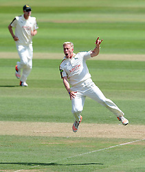 Nottinghamshire's Luke Wood celebrates the wicket of Somerset's Marcus Trescothick. - Photo mandatory by-line: Harry Trump/JMP - Mobile: 07966 386802 - 15/06/15 - SPORT - CRICKET - LVCC County Championship - Division One - Day Two - Somerset v Nottinghamshire - The County Ground, Taunton, England.