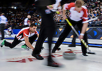 March 05, 2016: Team Canada Third John Morris delivers a stone against Team Quebec in draw 1 of the 2016 Tim Hortons Brier at TD Place Arena in Ottawa, ON. Canada. (Photo by Steve Kingsman/Icon Sportswire)