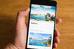 Airbnb app showing Sydney in Australia on a smart phone