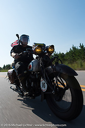 Ron Roberts riding his 1936 Indian Chief during Stage 3 of the Motorcycle Cannonball Cross-Country Endurance Run, which on this day ran from Columbus, GA to Chatanooga, TN., USA. Sunday, September 7, 2014.  Photography ©2014 Michael Lichter.
