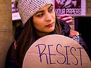 01 MAY 2017 - ST. PAUL, MN: An anti-Trump protester at the May Day demonstration in the Minnesota State Capitol. About 300 people, representing immigrants' and workers' rights organizations, marched through the Minnesota State Capitol during a demonstration to mark May Day, International Workers' Day.      PHOTO BY JACK KURTZ