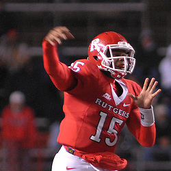 Oct 16, 2009; Piscataway, NJ, USA; Rutgers quarterback Jabu Lovelace (15) throws a pass during second half NCAA football action in Pittsburgh's 24-17 victory over Rutgers at Rutgers Stadium.