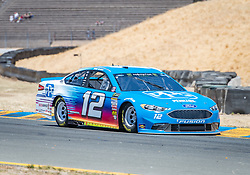 June 22, 2018 - Sonoma, CA, U.S. - SONOMA, CA - JUNE 22:  Ryan Blaney, driving the #(12) Ford for Team Penske speeds out of turn 8a on Friday, June 22, 2018 at the Toyota/Save Mart 350 Practice day at Sonoma Raceway, Sonoma, CA (Photo by Douglas Stringer/Icon Sportswire) (Credit Image: © Douglas Stringer/Icon SMI via ZUMA Press)