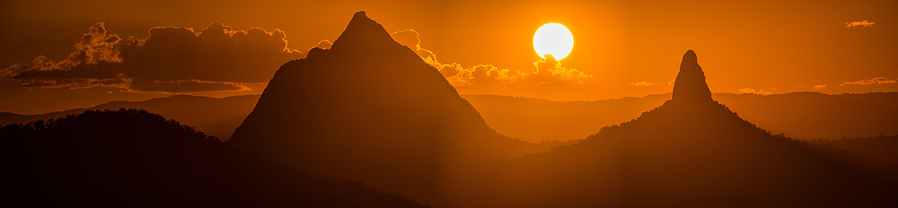 Panoramic view of the Glass House Mountains:Mt Beerwah (l) & Mt Coonowrin, Sunshine Coast, Queensland, Australia